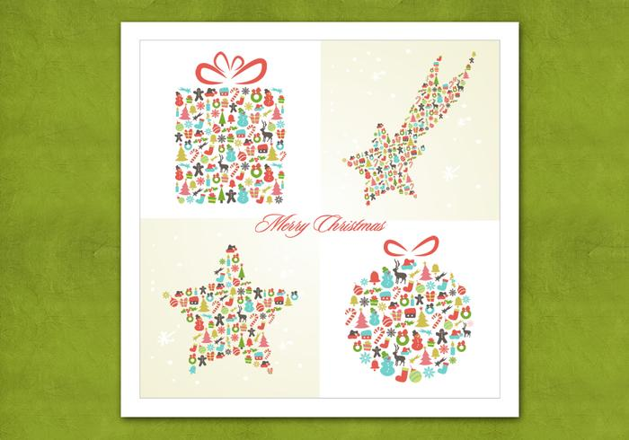 Retro Christmas Background Vector Pack