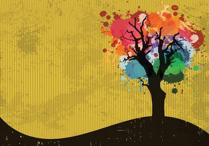 Farbe Splatter Baum Vektor