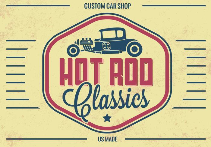 Vintage Hot Rod Vector Bakgrund