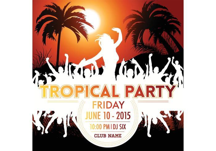 Kostenlose Vector Tropical Party Poster