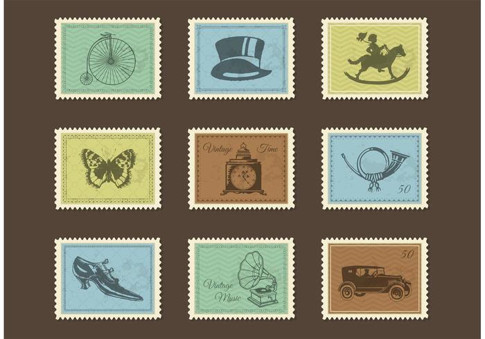 Free Vintage Post Briefmarken Vektor