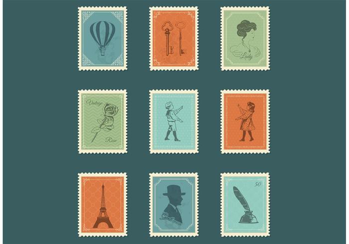 Freie Weinlese-Briefmarken-Vektoren vektor