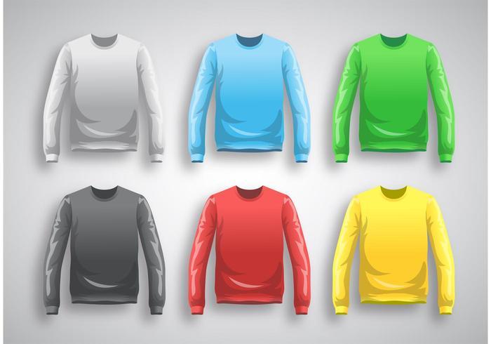 Langarm T-Shirt Vorlage Vektor