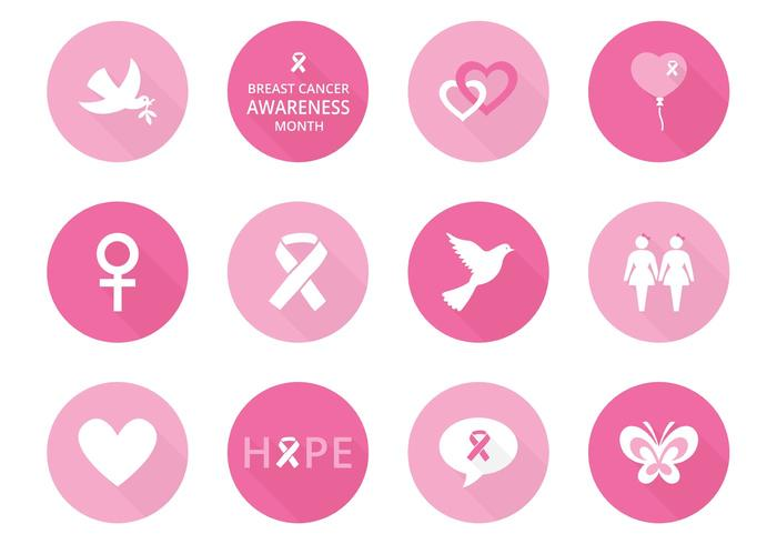 Bröstcancermedvetenhetsvektorikoner vektor