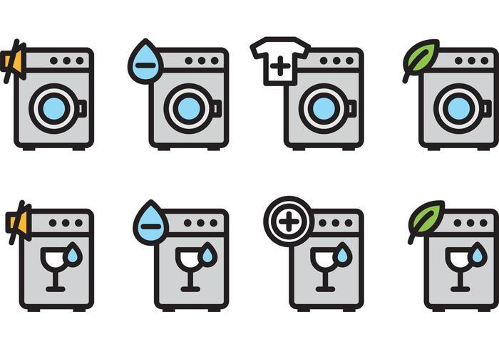 Tvätta maskinvektorns ikoner vektor