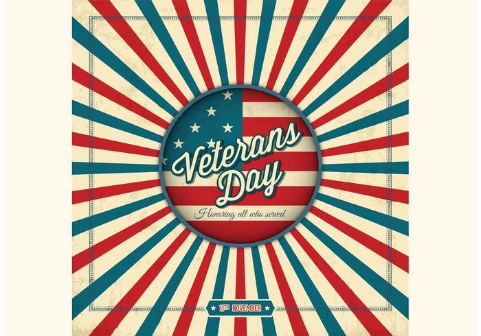 Free Retro Veterans Day Vektor Hintergrund