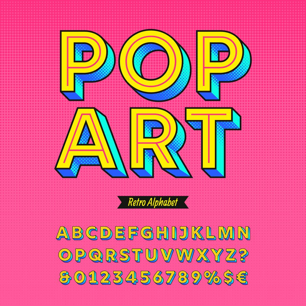 Pop-Art-Retro-Alphabet-Vektor vektor
