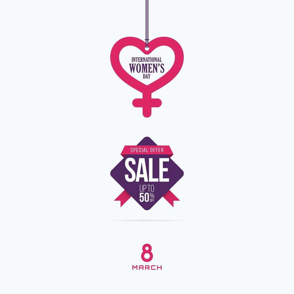 kvinnors dag försäljning hängande etiketter mars 8: e banner design vektor