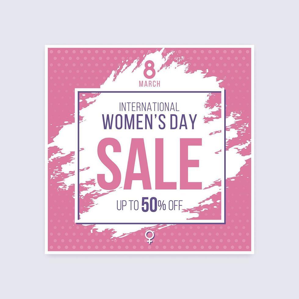internationell kvinnors dag försäljning rabatt borstad halvton affisch vektor