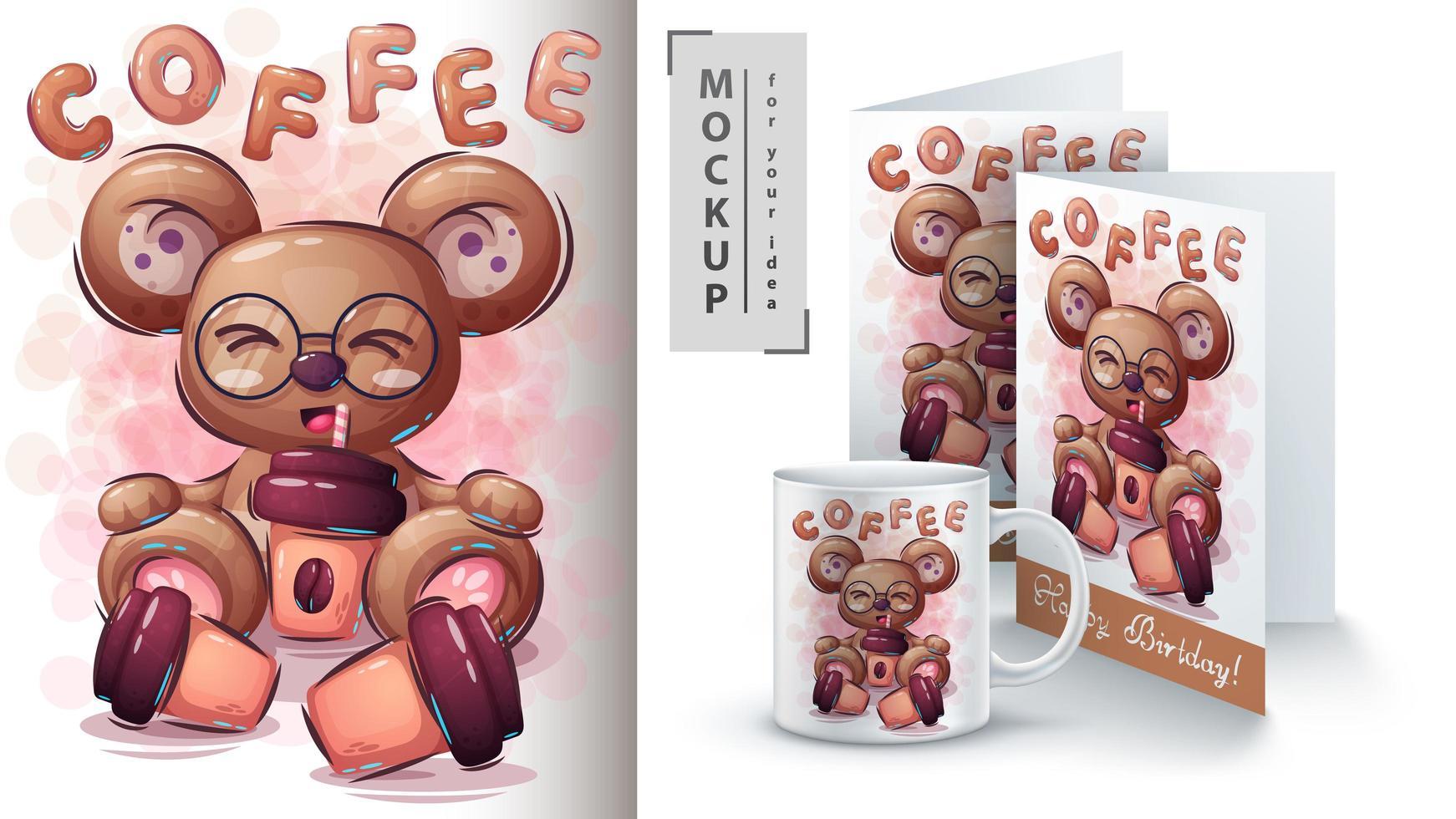 björn dricka kaffe affisch vektor