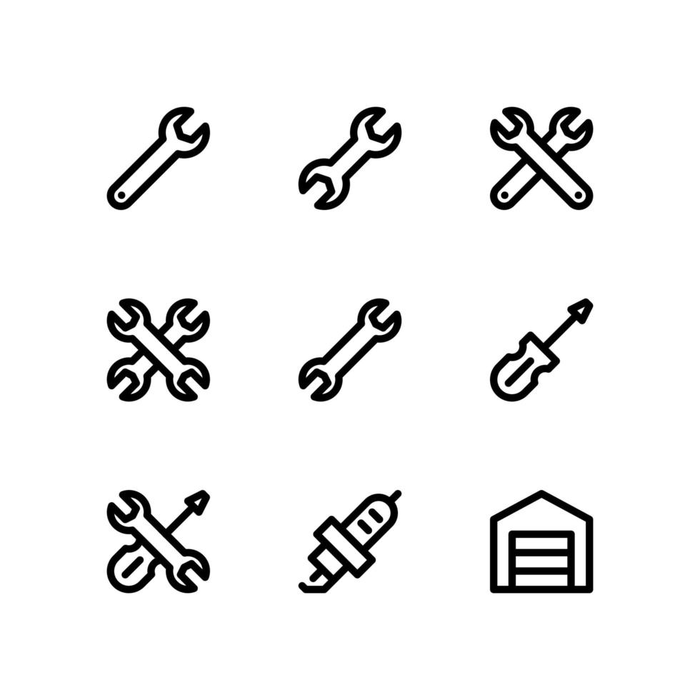 bilunderhåll linje ikoner vektor