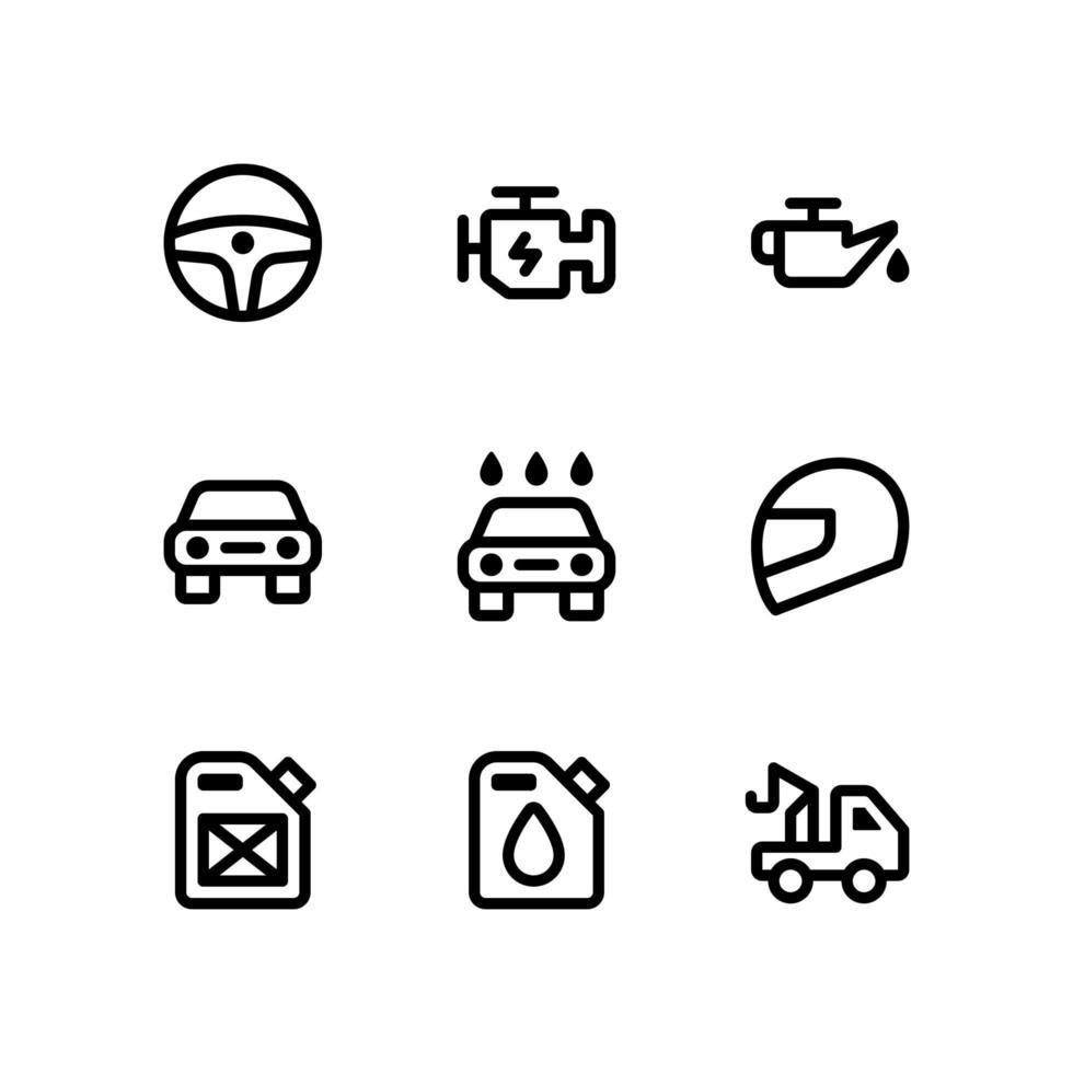 bil linje ikoner vektor