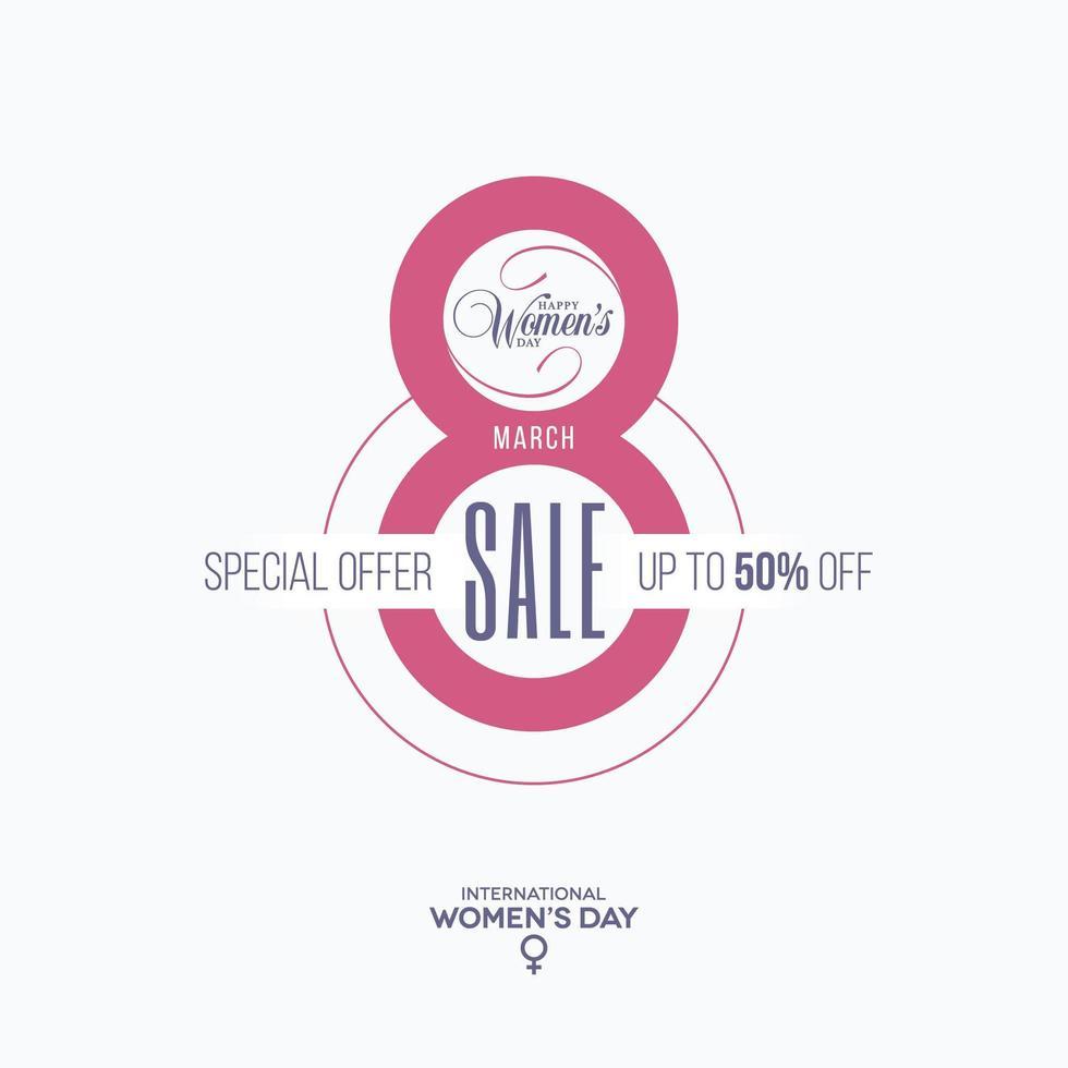 8: e kvinnors dag försäljning etikett vektor
