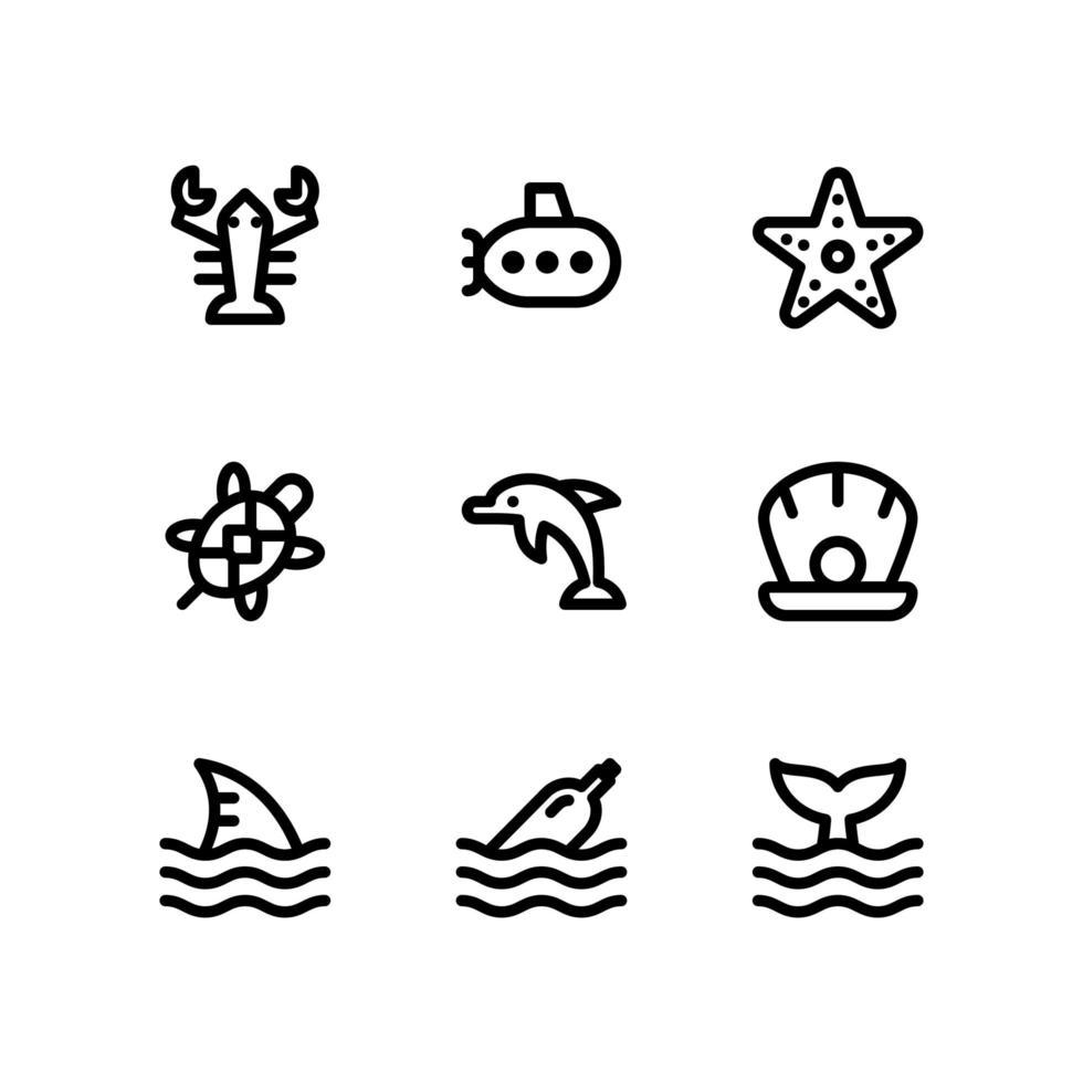 marina liv linje ikoner vektor