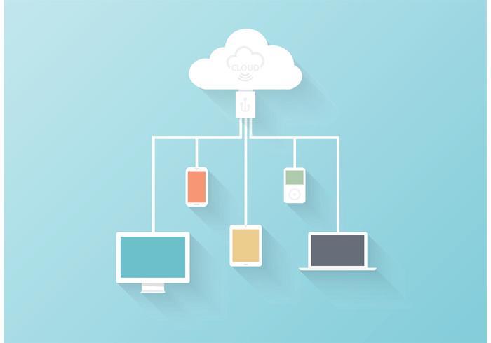 Free Vector Cloud Computing Konzept