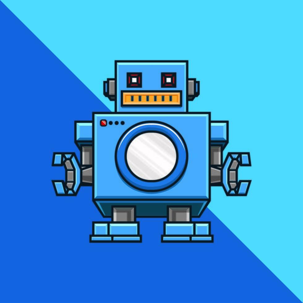 robot på blå bakgrund vektor