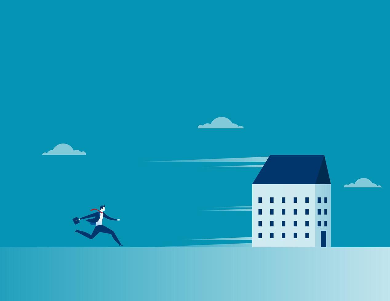 affärsman som jagar ett löpande hus. vektor