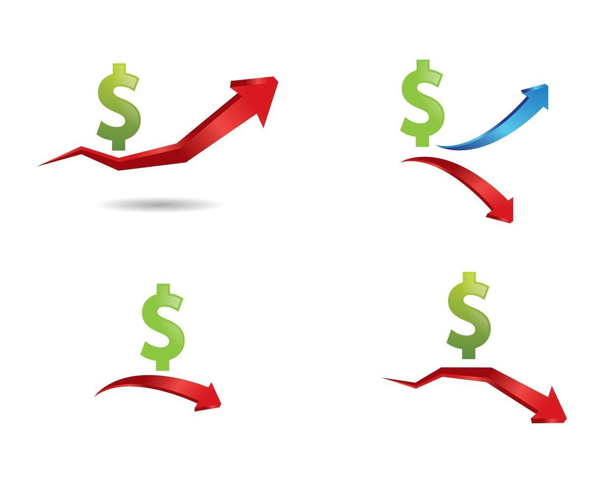 pengar dollar tecken och pil Ikonuppsättning vektor