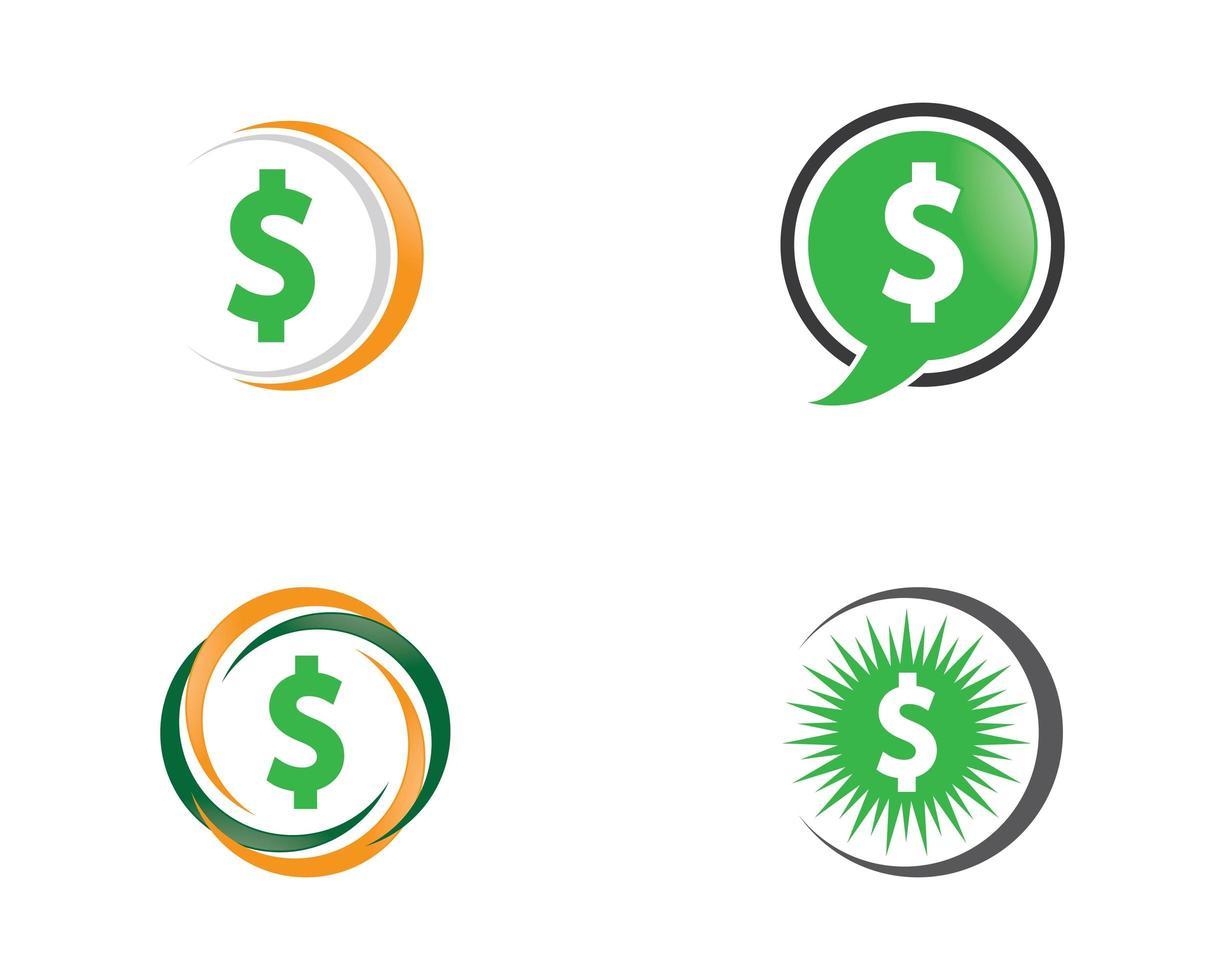 pengar ikoner i cirkeluppsättning vektor