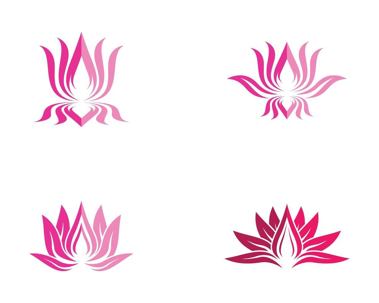 skönhet blomma logotyp set vektor