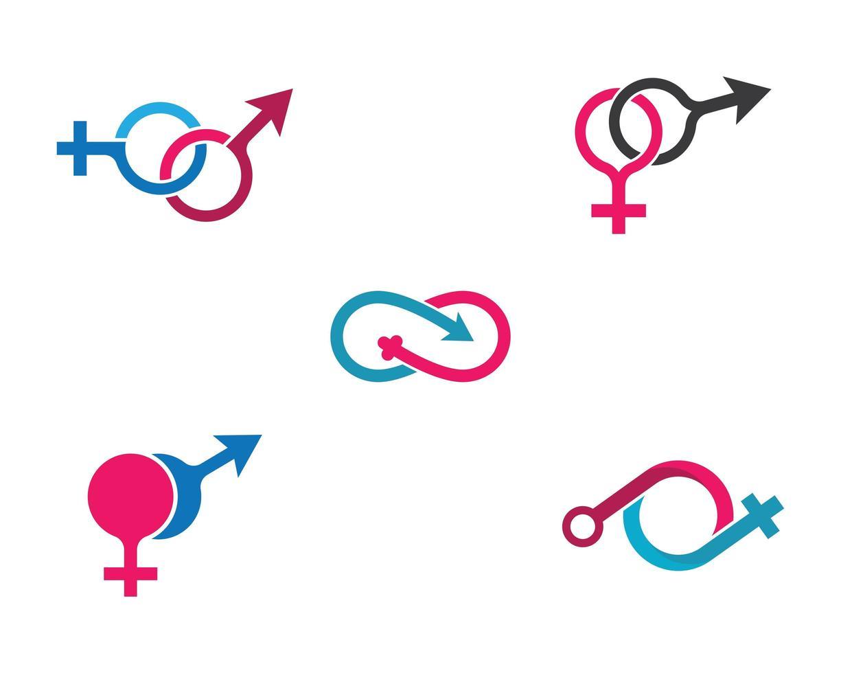 könslogotyper Ikonuppsättning vektor