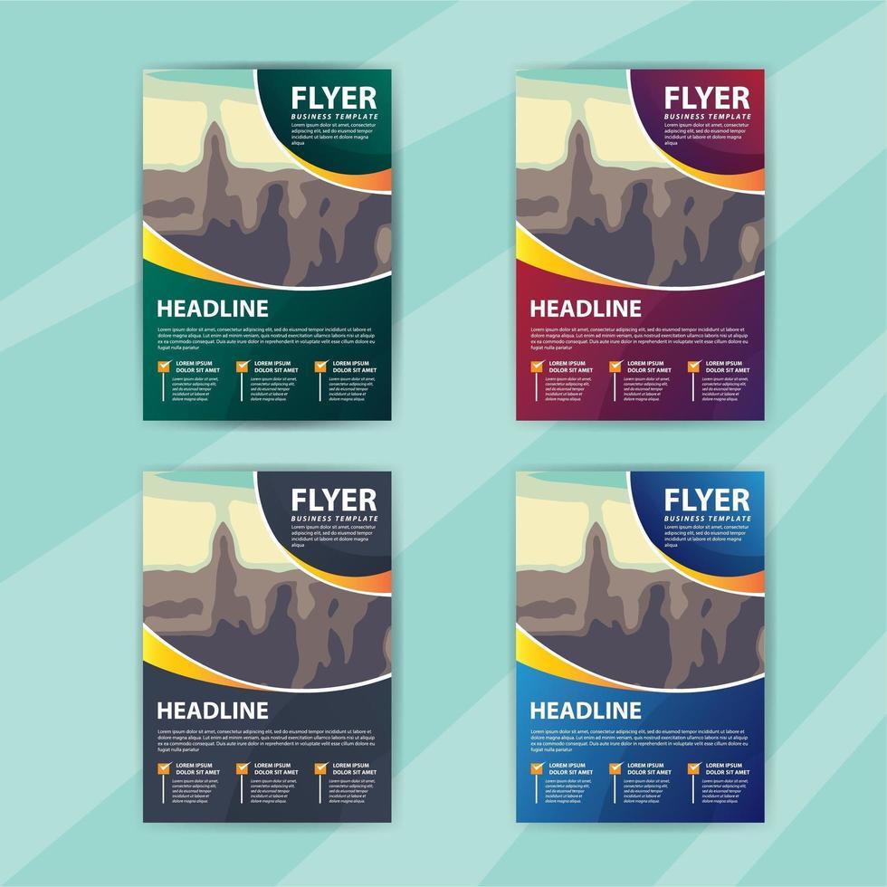 Business Flyer Template Set mit abgerundeten Farbverlauf Design vektor