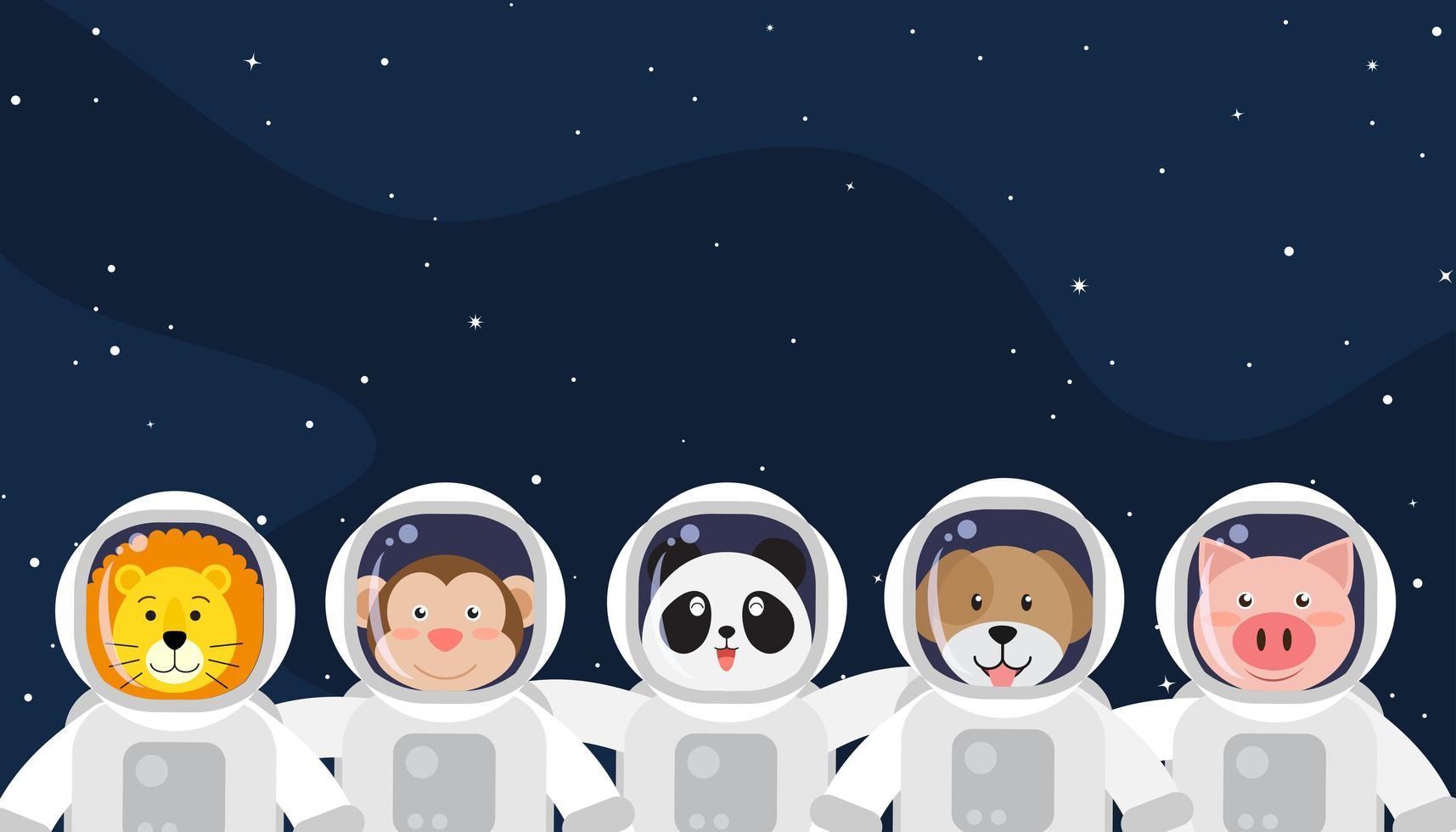 uppsättning söta djuras astronauter i rymden vektor