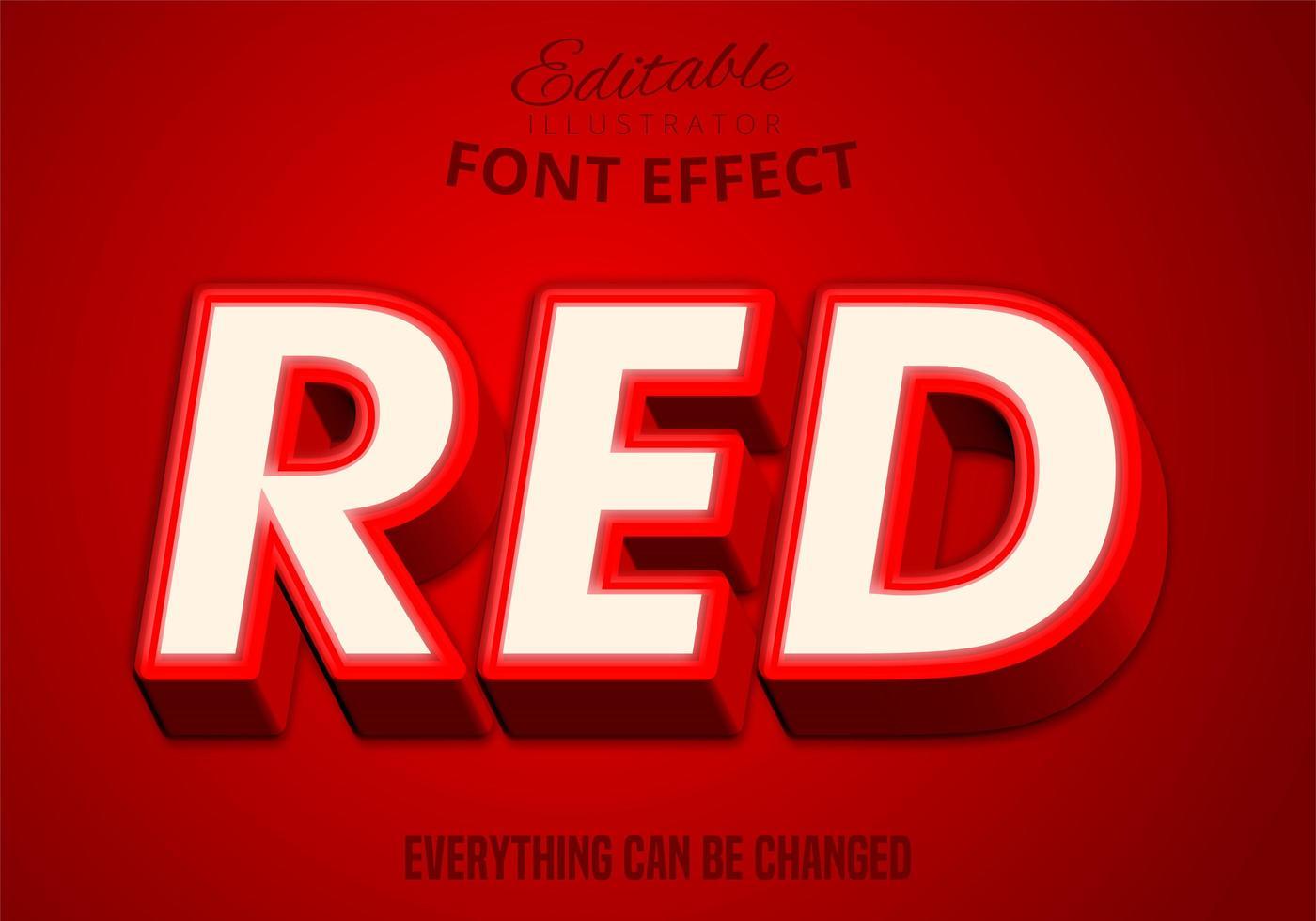 roter Text, bearbeitbarer Texteffekt vektor