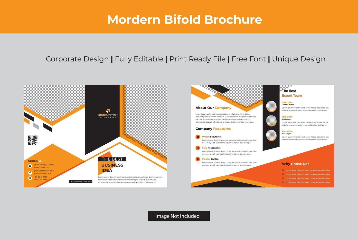 Orange Winkel Design Business Bi-Fold-Vorlage vektor