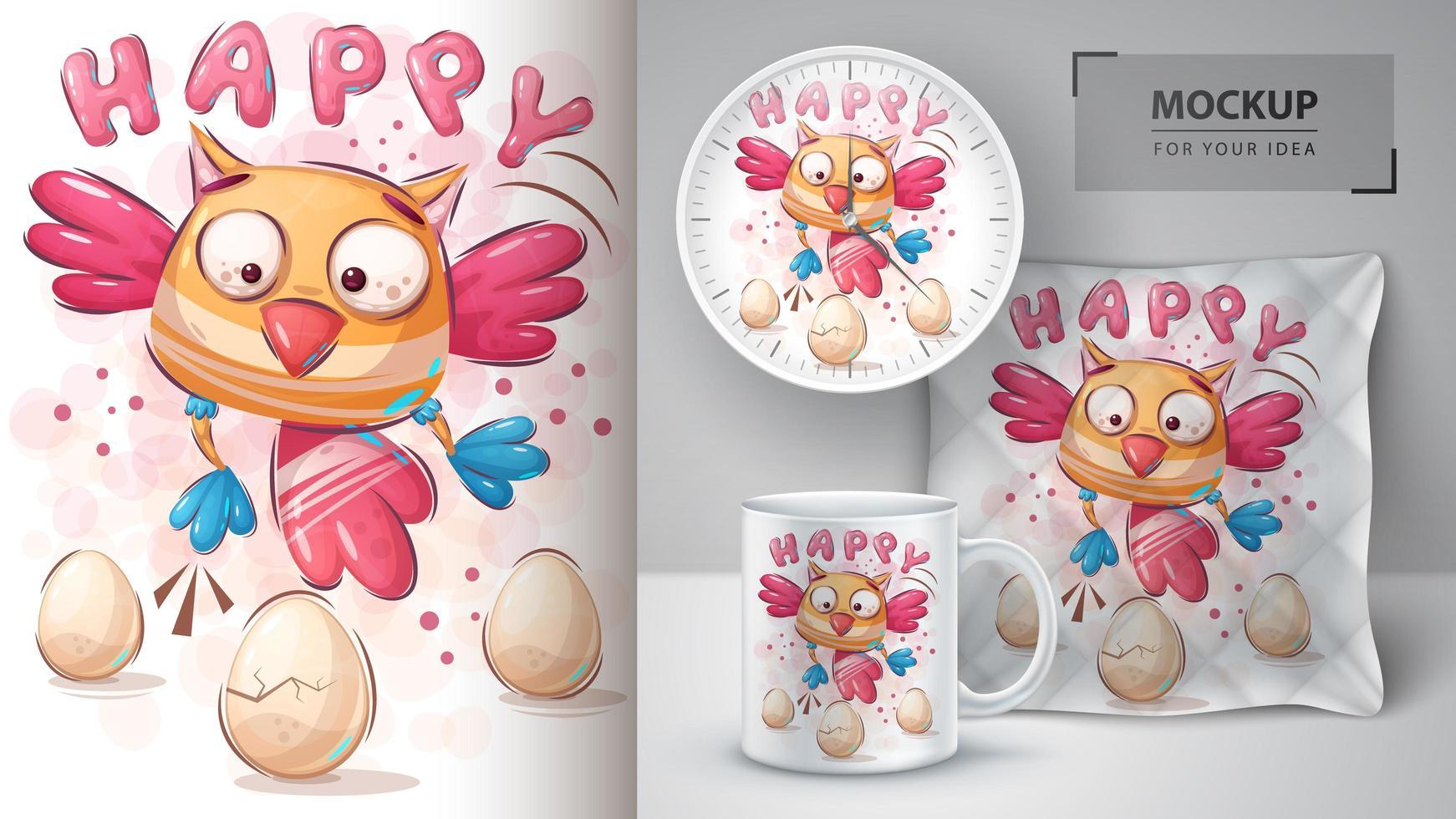 glücklicher Vogel mit Eiern Plakat vektor