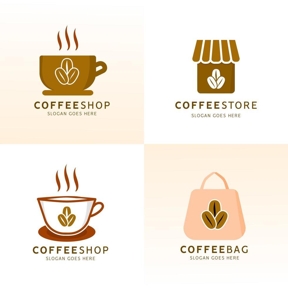 kafé logotyp designuppsättning vektor