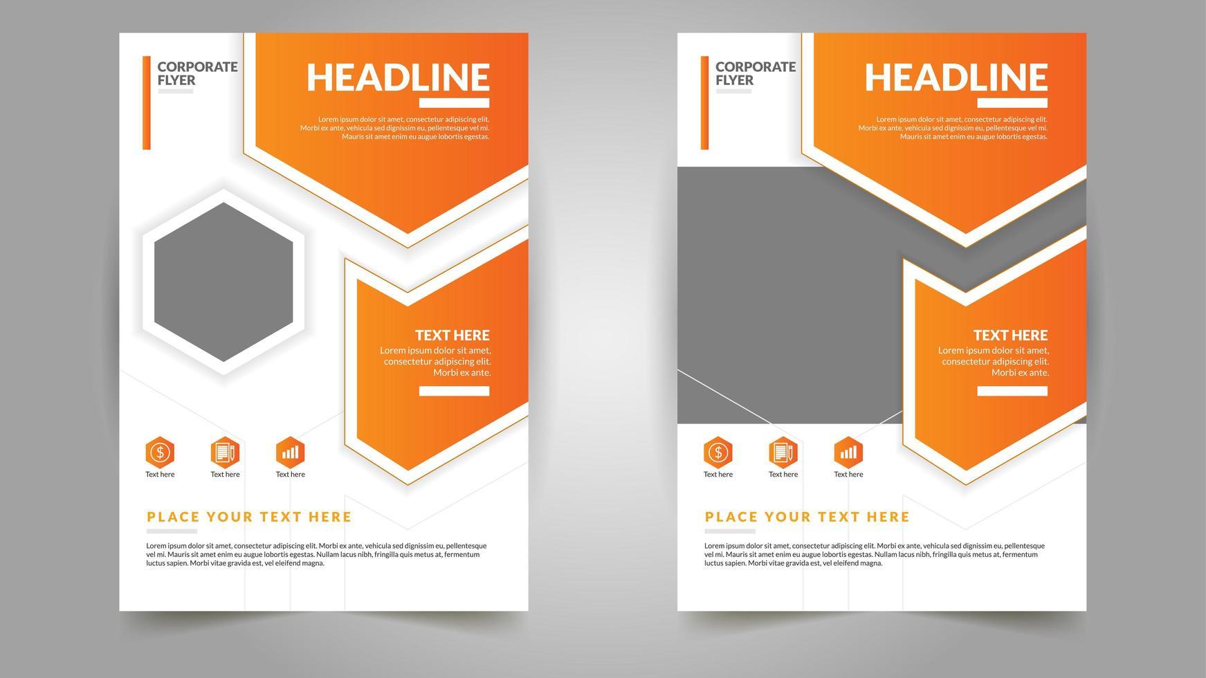 professionelle Flyer-Vorlagen mit orange geometrischer Form vektor