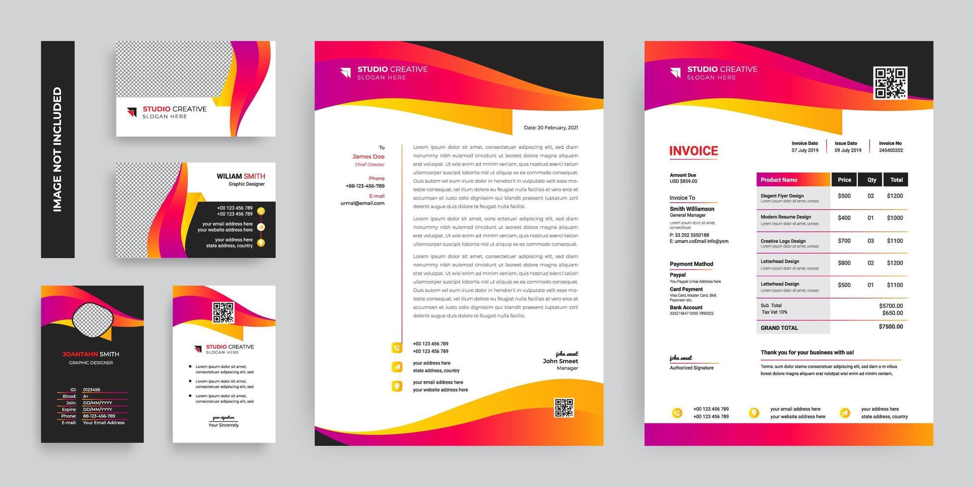 färgglada moderna företag företags brevpapper malluppsättning vektor