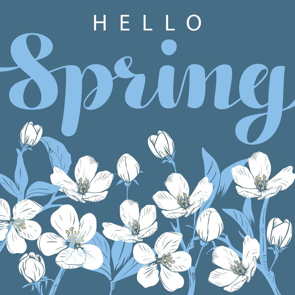 weiße Kirschblüte mit hallo Frühlingsbeschriftung vektor