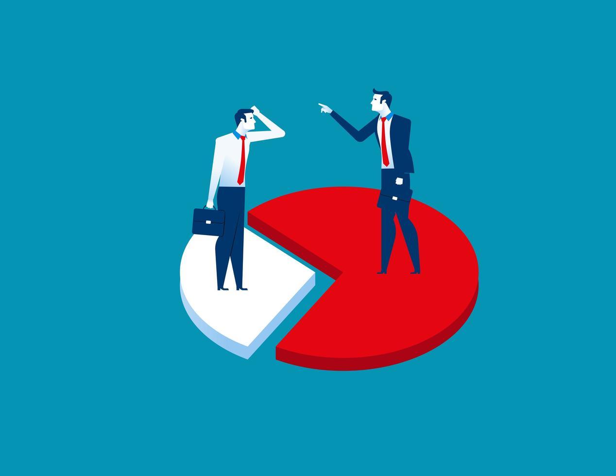 affärsmän som står på cirkeldiagram vektor