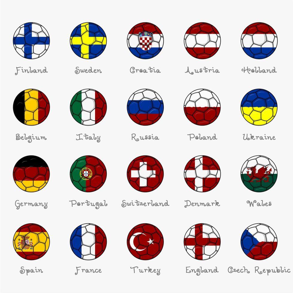 Europas nationella flaggor i form av fotbollboll vektor