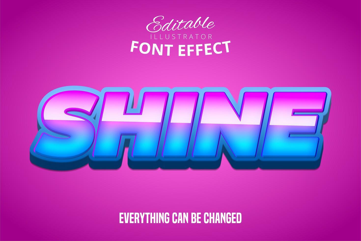glans text, redigerbar teckensnitt effekt vektor