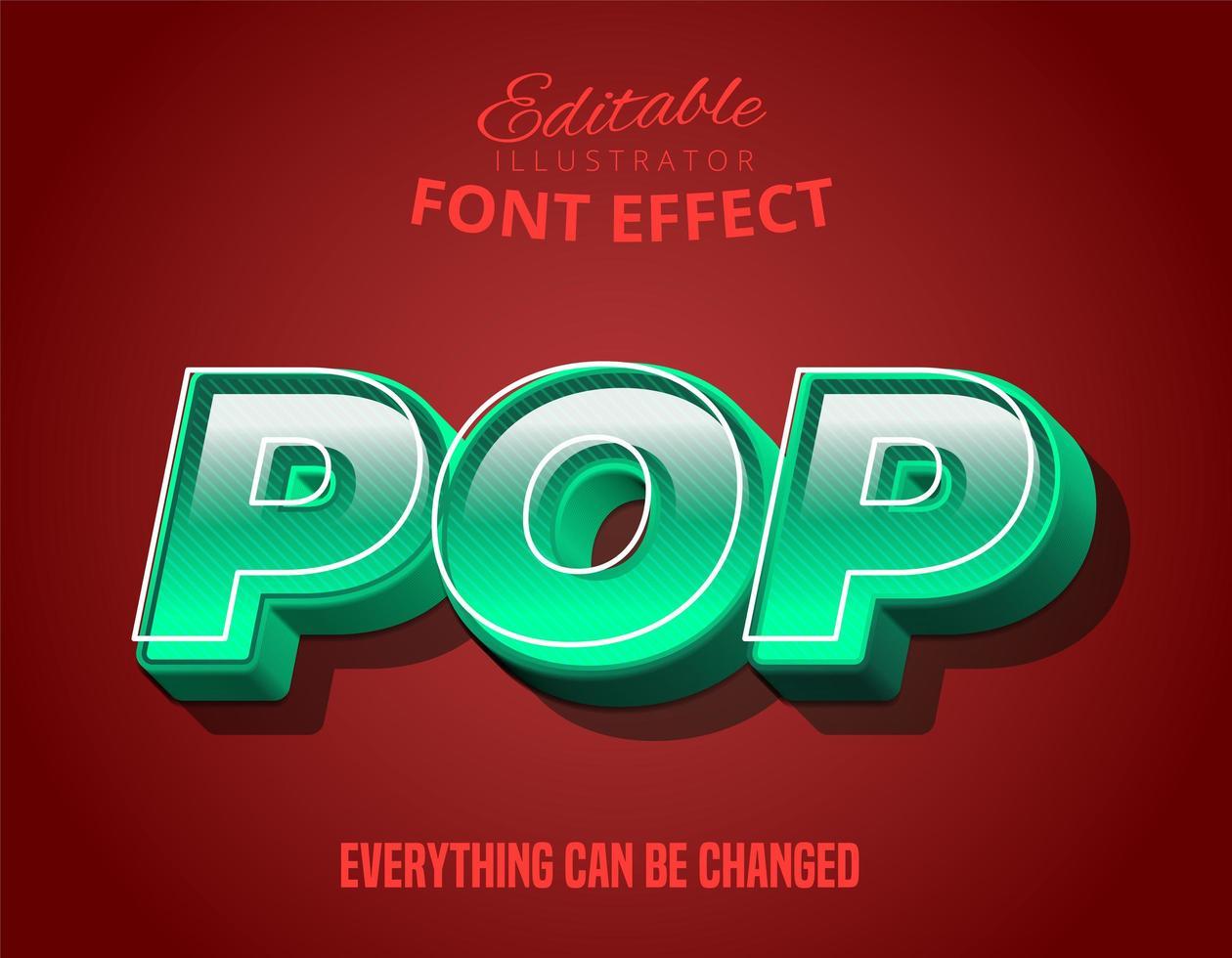 Pop-Text, 3D-Türkis bearbeitbarer Schrifteffekt vektor