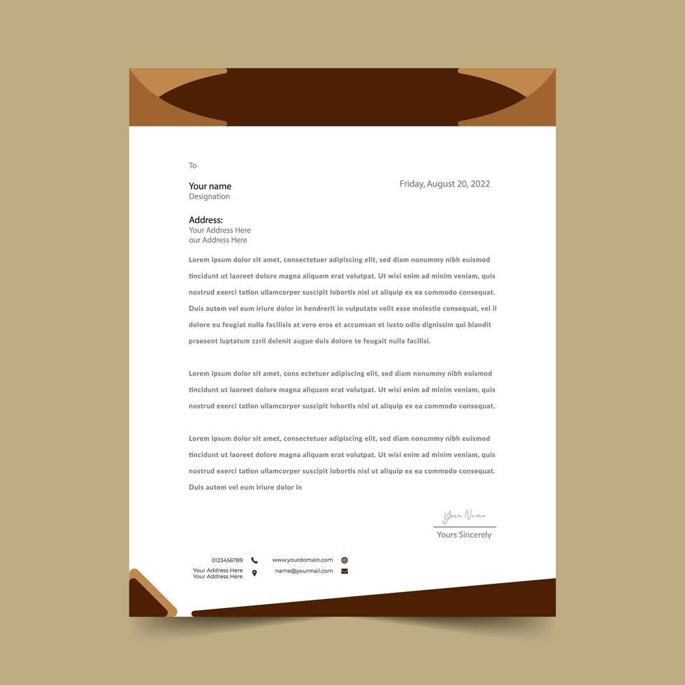 brun brevpappmalldesign vektor
