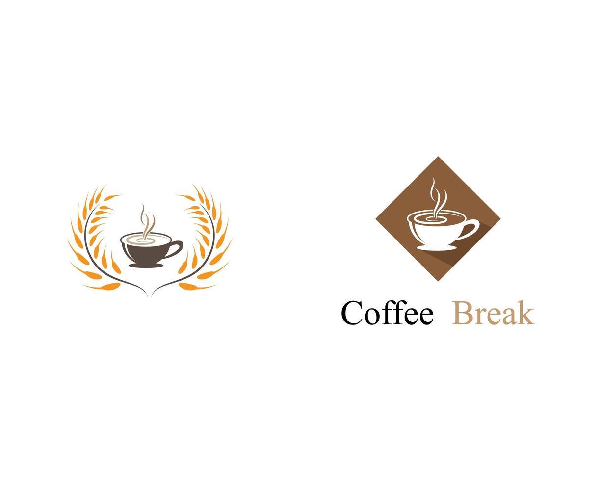 kaffekopp logotypuppsättning vektor
