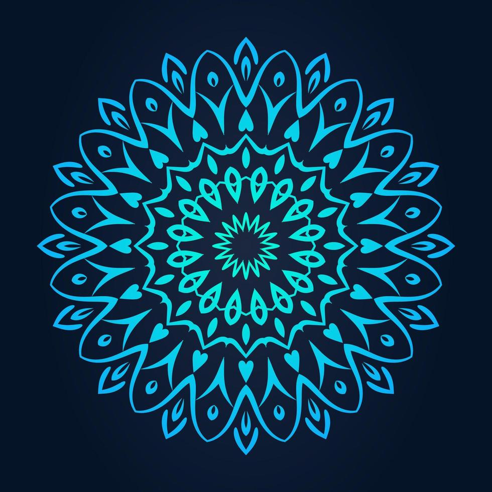 Rundes Spitzenmuster mit blauem Farbverlauf vektor
