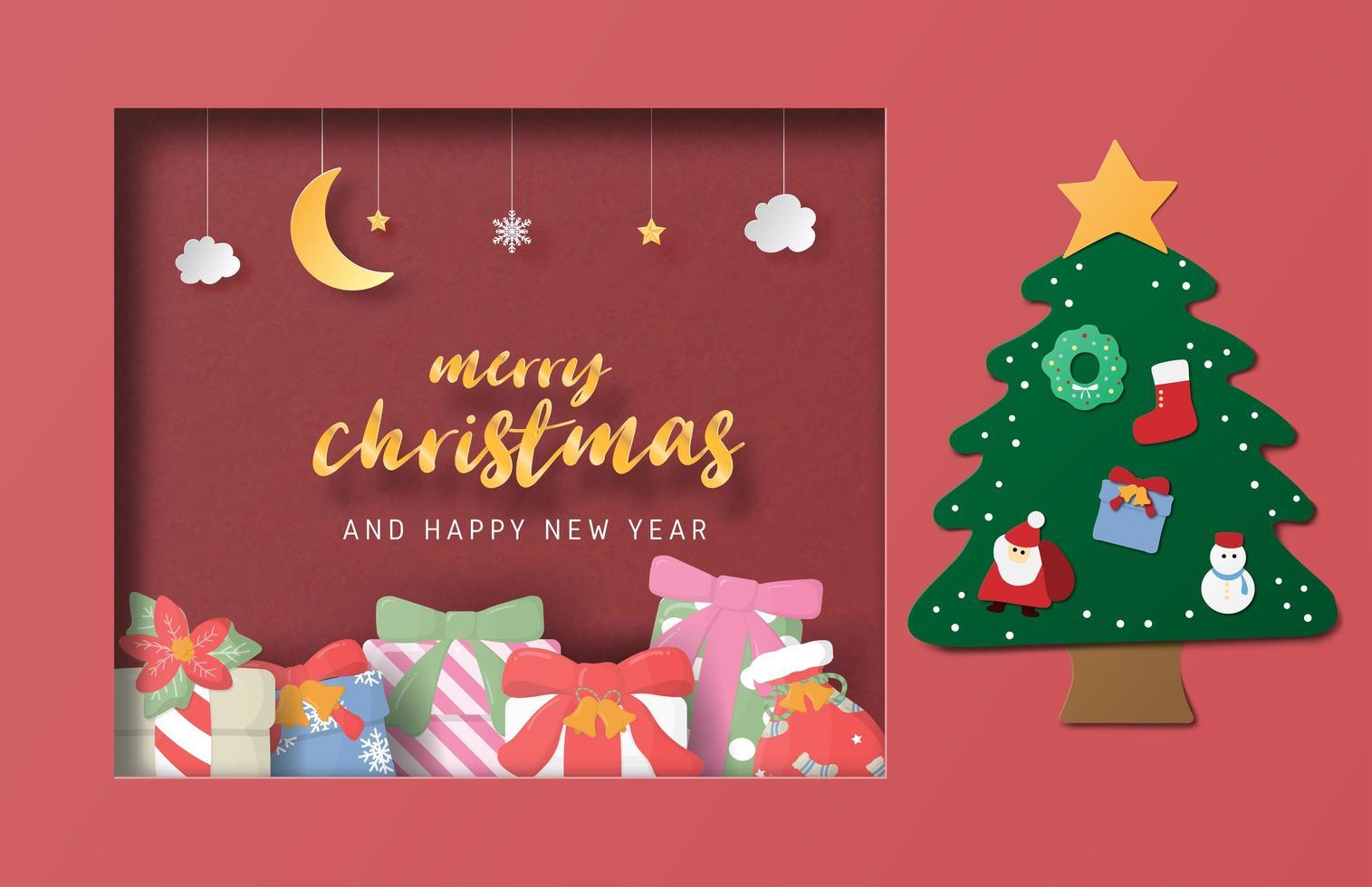 Weihnachtsfeier-Grußkarte im Papierschnittstil. vektor
