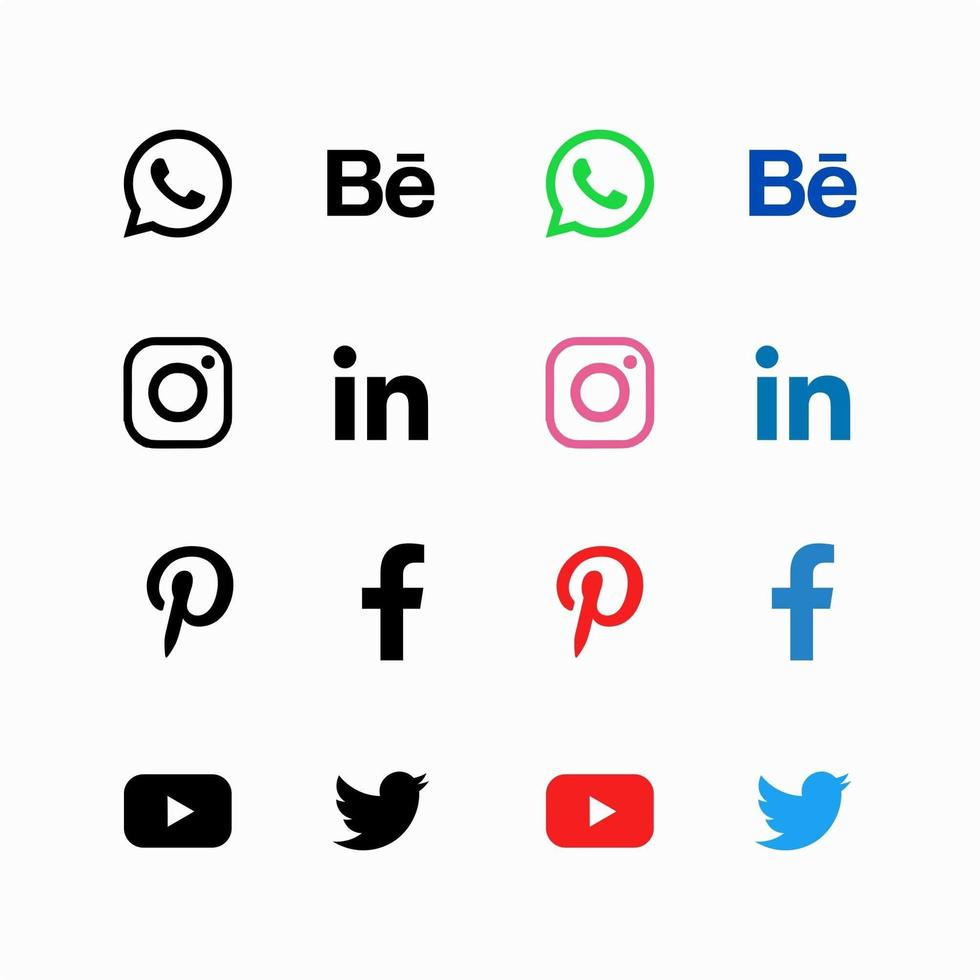 enkel sociala medier Ikonuppsättning vektor