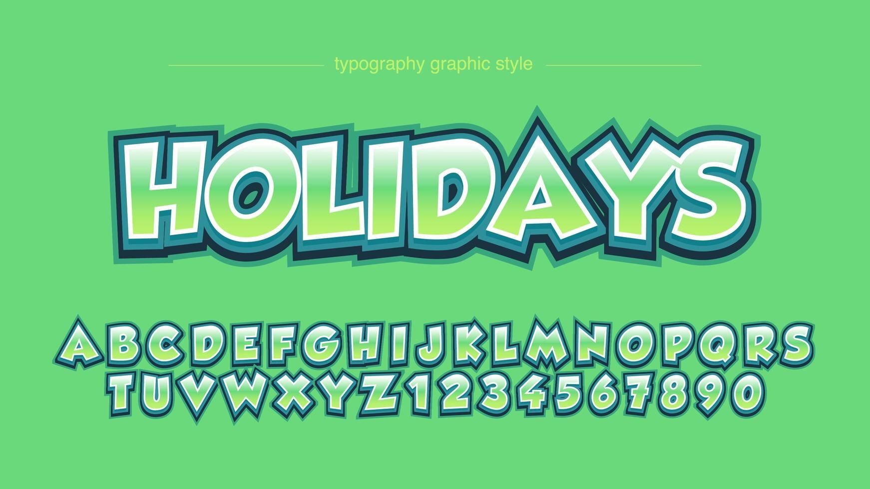 grön fet fet tecknad filmtecknad typografi vektor