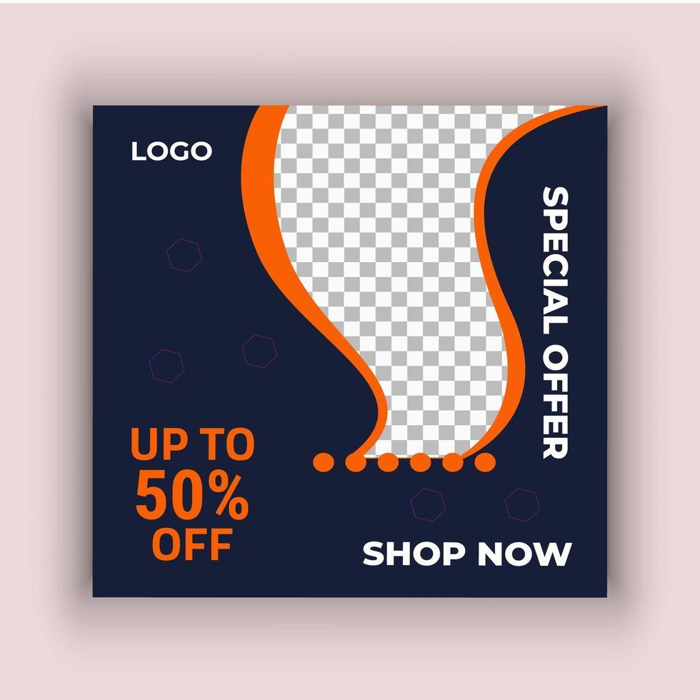 orange och svart försäljning sociala medier post mall vektor