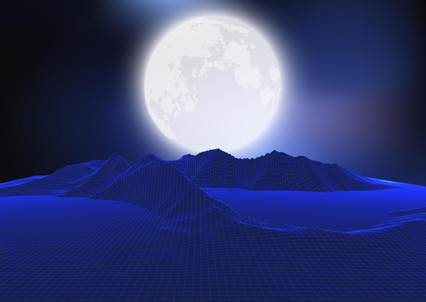 abstrakt månlandskap med wireframe-terräng vektor