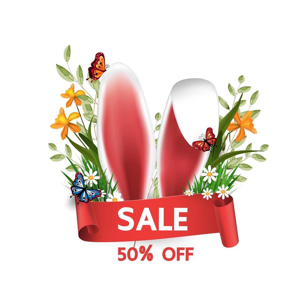 Osterverkauf Banner mit Hasenohren und Blumen vektor