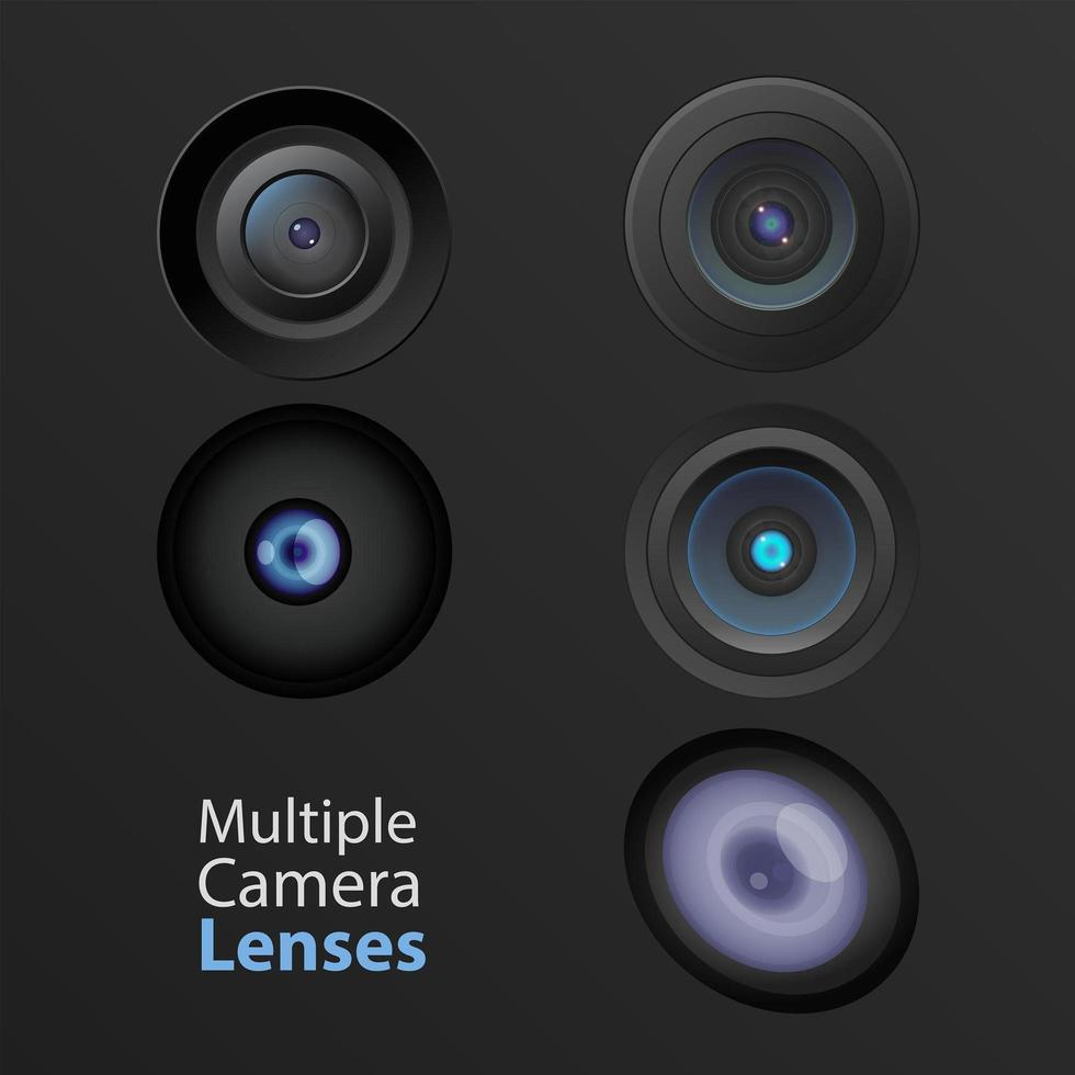 olika kameralinser vektor