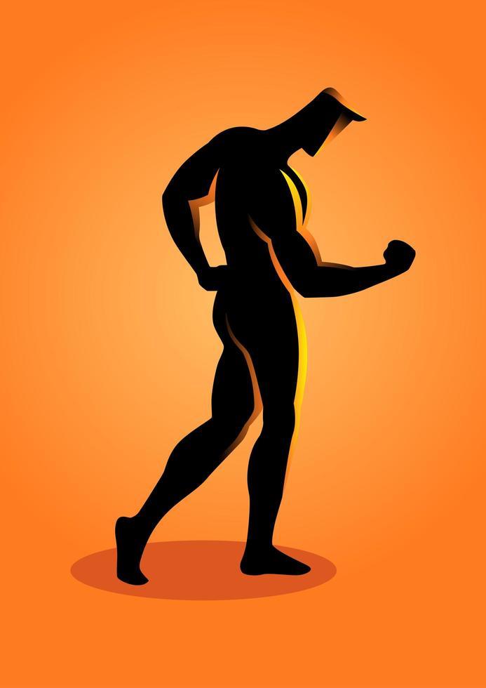 Sport Silhouette Bodybuilder posiert mit Armen nach unten vektor