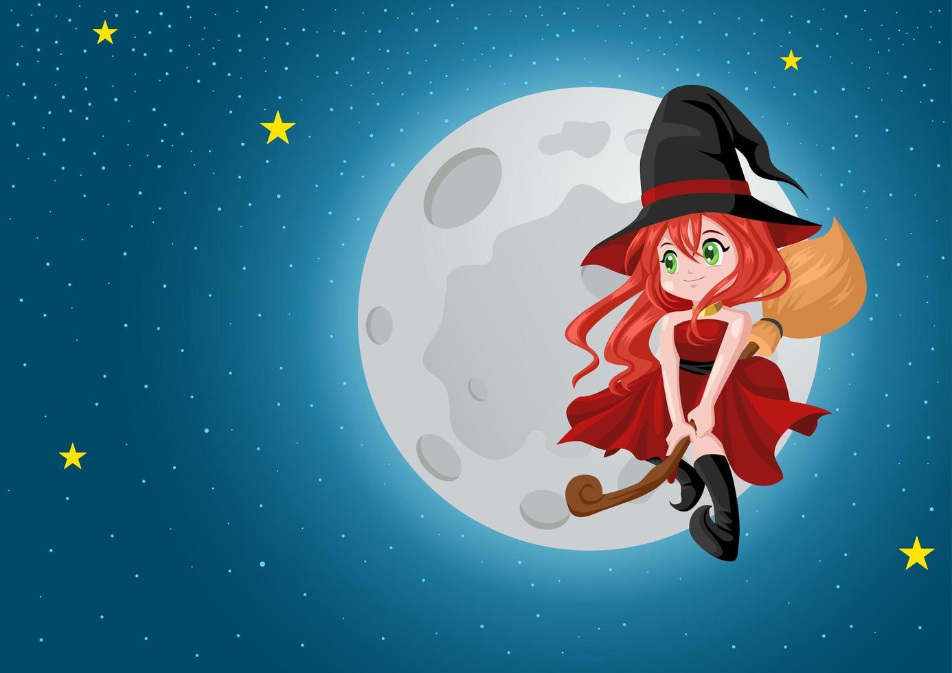 schöne Hexe auf Besen am Nachthimmel vektor